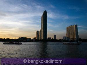 Veduta del lato opposto del fiume Chao Phraya